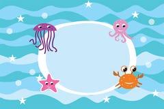Fundo do quadro da vida marinha dos desenhos animados Fotografia de Stock Royalty Free