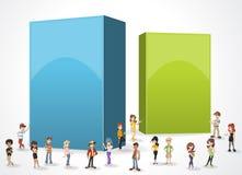 Fundo do quadro de caixa com adolescentes dos desenhos animados Fotos de Stock