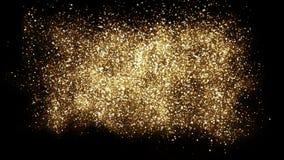 Fundo do respingo do pó do brilho do ouro Partículas de poeira dispersadas douradas festivas imagens de stock