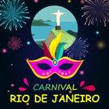 Fundo do Rio do carnaval com máscara e fogos-de-artifício ilustração do vetor