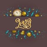 Fundo do ` s do ano novo - uma festão do abeto ramifica, bolas, bagas ilustração do vetor
