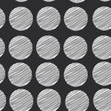 Fundo do às bolinhas, teste padrão sem emenda ponto do garrancho no fundo preto Vetor Imagem de Stock Royalty Free
