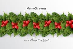 Fundo do ` s do feriado com beira da árvore de abeto realística Foto de Stock