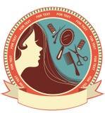 Fundo do salão de beleza de cabelo com face da mulher ilustração royalty free
