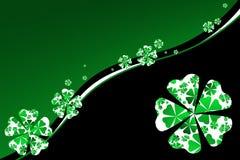 Fundo do Shamrock no verde e no preto ilustração do vetor