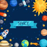 Fundo do sistema solar, dos planetas e de celestial Foto de Stock