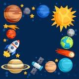 Fundo do sistema solar, dos planetas e de celestial Fotografia de Stock Royalty Free