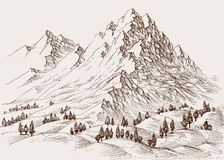 Fundo do sketchz das montanhas altas ilustração do vetor