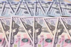 fundo do sumário do dólar americano 100 e 50 Fotografia de Stock Royalty Free