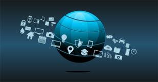 Fundo do sumário da inovação da tecnologia da informação ou da tecnologia ilustração stock