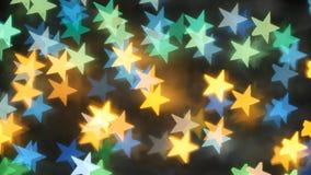 Fundo do sumário de Bokeh sob a forma das estrelas video estoque