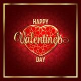 Fundo do sumário do dia de Valentim com coração vermelho do ouro Ilustração do vetor ilustração do vetor