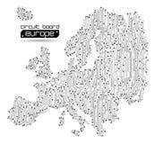 Fundo do sumário do mapa de Europa da placa de circuito ilustração do vetor