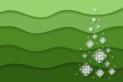 Fundo do sumário do Natal e do ano novo com flocos de neve de papel foto de stock