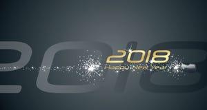 Fundo 2018 do sumário do preto do fogo de artifício do champanhe do ano novo feliz ilustração do vetor