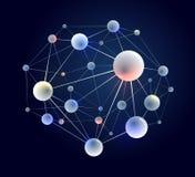 Fundo do sumário do vetor das moléculas, elemento dimensional da química da ciência 3D e do projeto do tema da física, os átomos  ilustração stock