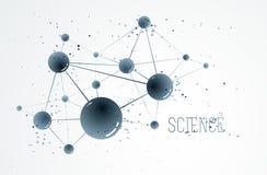 Fundo do sumário do vetor das moléculas, elemento dimensional da química da ciência 3D e do projeto do tema da física, os átomos  ilustração royalty free