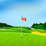 Fundo do T do verde do vetor do furo do golfe ilustração do vetor