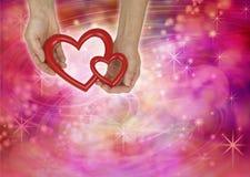 Fundo do tema do Valentim de dois corações do amor Imagens de Stock