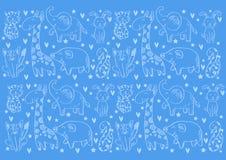 Fundo do teste padrão com animais bonitos ilustração stock