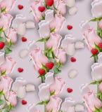 Fundo do teste padrão das flores e dos corações de Rosa Graphhics do vetor Imagem de Stock Royalty Free
