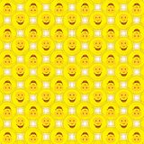 Fundo do teste padrão de Smiley Sunshine Sun Faces Funny Fotografia de Stock