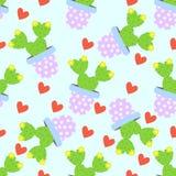 Fundo do teste padrão do cacto Cactos bonitos, vasos de flores Teste padrão sem emenda com cactos bonitos Imagens de Stock Royalty Free