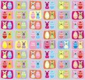 Fundo do teste padrão do coelhinho da Páscoa e do ovo da páscoa Imagens de Stock Royalty Free