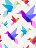 Fundo do teste padrão dos colibris de Origami Fotografia de Stock Royalty Free