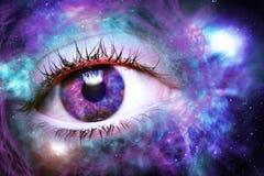 Fundo do universo do globo ocular imagens de stock