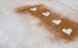 Fundo do Valentim, cartão Corações brancos da refeição, trigo mim Imagens de Stock