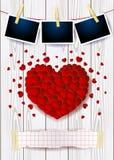 Fundo do Valentim com coração, espaço da cópia e quadros vermelhos da foto fotos de stock