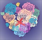 Fundo do Valentim com coração floral e gaiola Imagens de Stock