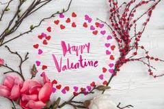 Fundo do Valentim com corações e flores Fotografia de Stock