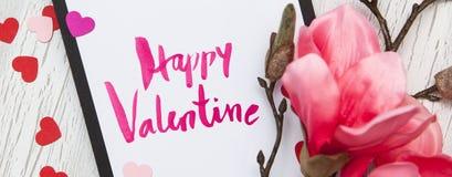 Fundo do Valentim com corações e flores Imagens de Stock Royalty Free