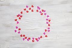Fundo do Valentim com corações e flores Imagem de Stock