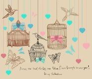 Fundo do Valentim com gaiolas e pássaros Fotografia de Stock
