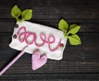 Fundo do Valentim, coração, dia de Valentim, presente, feito a mão Imagens de Stock Royalty Free