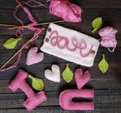 Fundo do Valentim, coração, dia de Valentim, presente, feito a mão Imagens de Stock