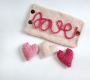 Fundo do Valentim, coração do amor, dia de Valentim, diy Fotos de Stock Royalty Free