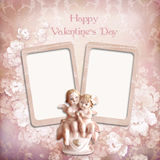 Fundo do Valentim do vintage com quadros e anjos Fotografia de Stock