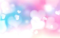 Fundo do Valentim Os corações borraram o contexto Fotos de Stock Royalty Free