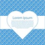 Fundo do Valentim Símbolo branco do coração no fundo azul com quadro para o texto Imagem de Stock Royalty Free