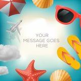 Fundo do verão com ícones do verão Fotografia de Stock Royalty Free