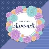 Fundo do verão com as flores, rotulando o ` do verão do ` olá! Ilustração do vetor Foto de Stock Royalty Free