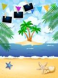 Fundo do verão com festão, a ilha tropical e os quadros da foto foto de stock