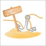 Fundo do verão com o sinal de madeira da âncora da gaivota isolado no branco Imagem de Stock Royalty Free