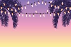 Fundo do verão com palmeiras e luzes feericamente ilustração stock