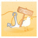 Fundo do verão com sinal da madeira da âncora da gaivota Fotos de Stock Royalty Free
