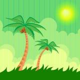 Fundo do verão. Duas palmeiras ilustração do vetor
